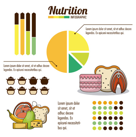 Nutrition and food infographic with statistics and elements vector illustration