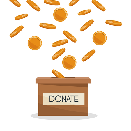 Donate cardboard box with coins vector illustration graphic design Illustration