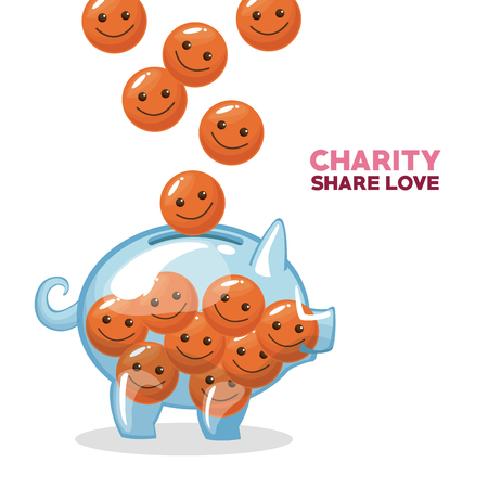 Glass piggy with smile emoticon cartoons vector illustration graphic design Illustration