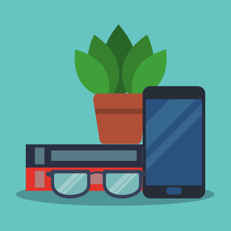 Books and glasses with smartphone vector illustration graphic design