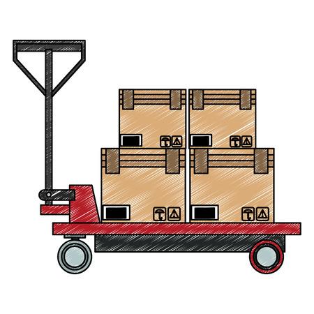 Boxes on handtruck vector illustration graphic design Stock Illustratie