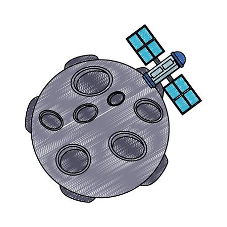 Satellite flying around meteor vector illustration graphic design