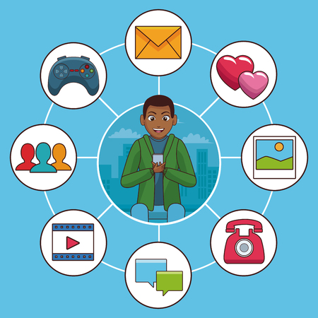 Young man with smartphone and social network symbols vector illustration graphic design