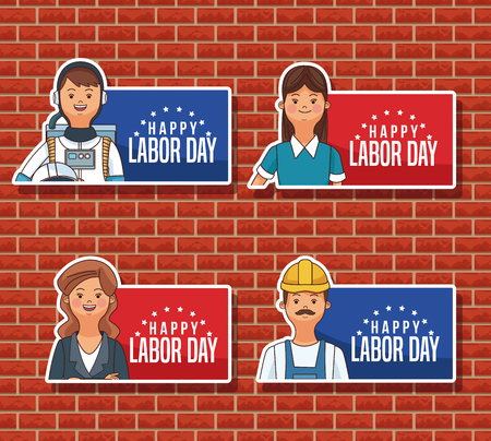 Happy labor day emblems with jobs and proffesions over bricks wall background vector illustration graphic design