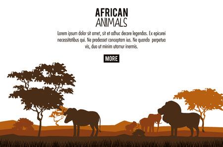 Afrikanisches Tierschattenbildplakat mit Grafikdesign der Informationsvektorillustration Vektorgrafik