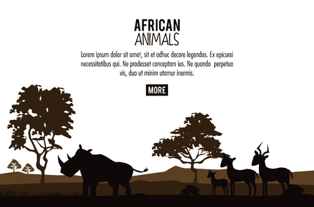 African animals silhouettes poster with information vector illustration graphic design