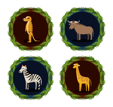 Set of wild african animals cartoons collection vector illustration graphic design