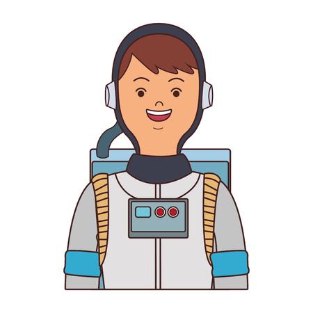 Astronaut male cartoon vector illustration graphic design