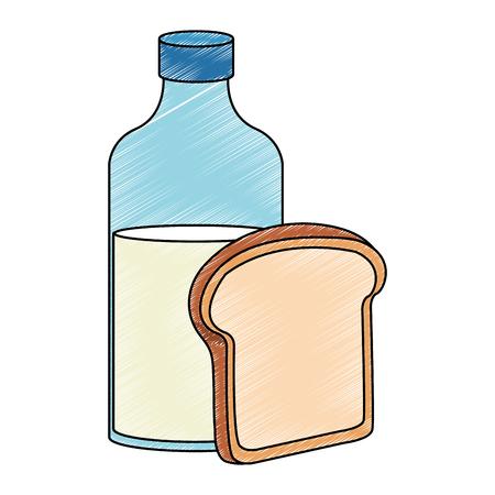 Milk bottle and bread vector illustration graphic design