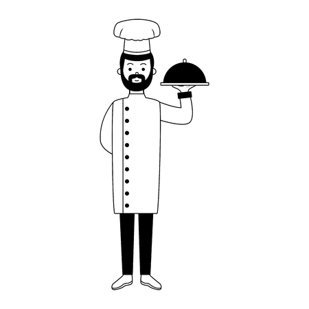 Male chef holding dish vector illustration graphic design
