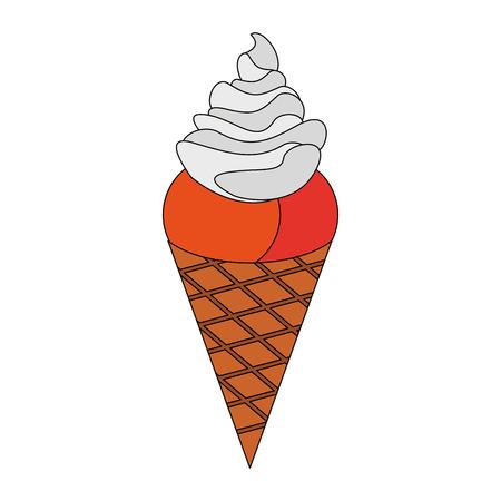 Delicious ice cream cone vector illustration graphic design