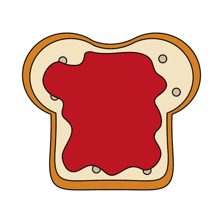 Bread sliced with jam vector illustration graphic design