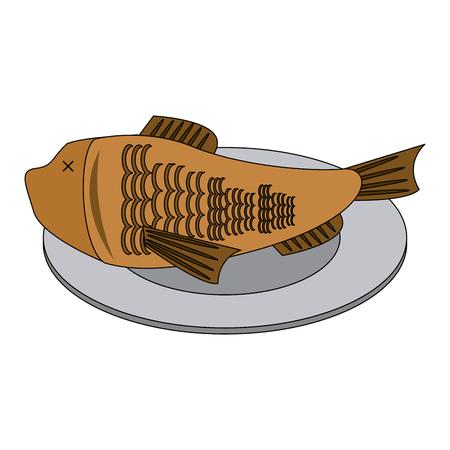 Fish on dish vector illustration graphic design