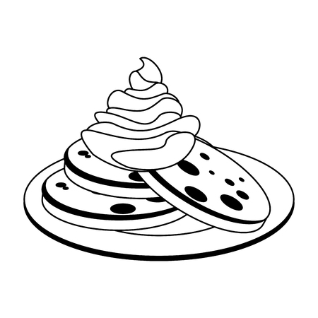 Cookies with chantilly cream on dish vector illustration graphic design Ilustração
