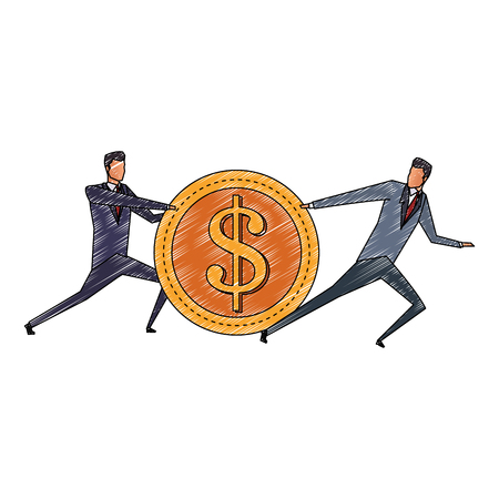Businessmens pulling and pushing a coin vector illustration graphic design