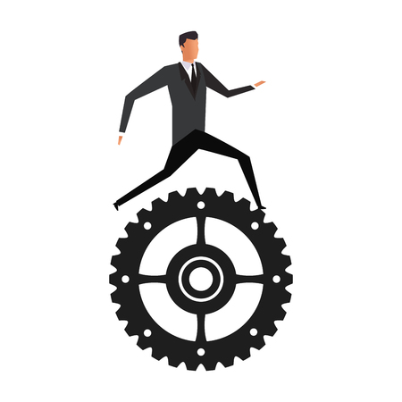 Businessman running on gear vector illustration graphic design