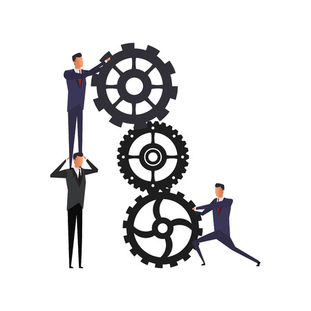 Businessmens working and holding with gears vector illustration graphic design