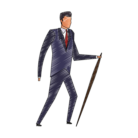 Businessman with walking stick looking around vector illustration graphic design Ilustração