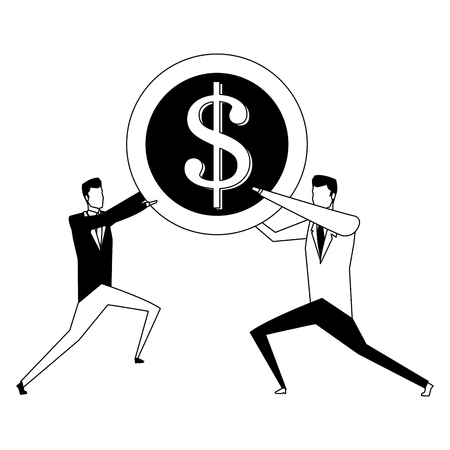 Businessmens holding a coin vector illustration graphic design