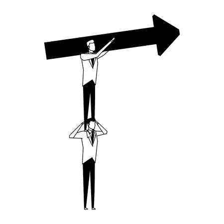 Businessmens holding arrow up vector illustration graphic design Çizim