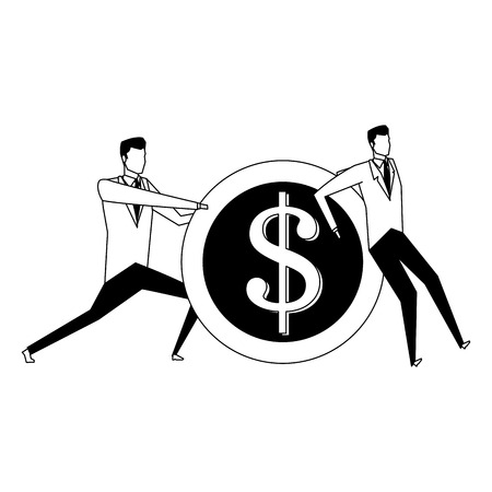 Businessmens pushing and holding a coin vector illustration graphic design