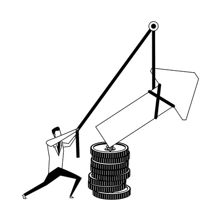 Businessman pulling arrow up with rope vector illustration graphic design