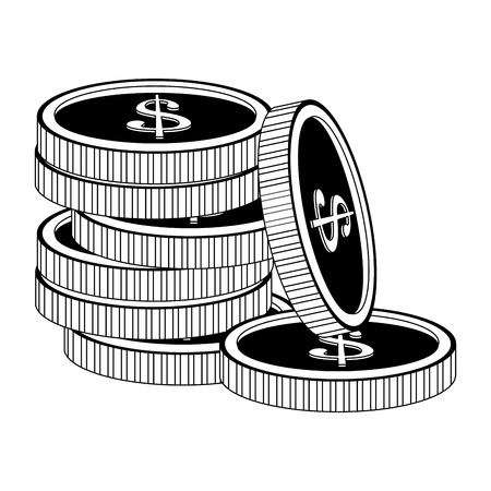 Coins stacked isolated vector illustration graphic design