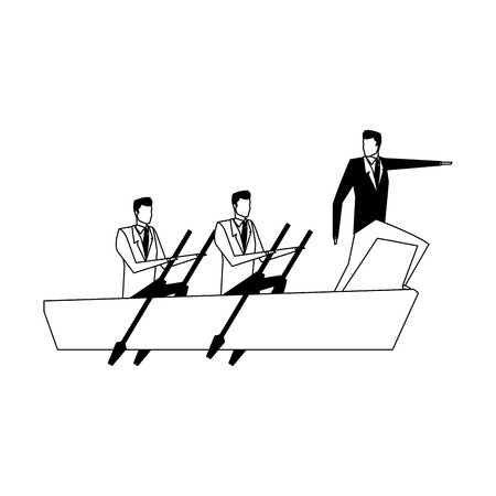 Businessmens on boat vector illustration graphic design