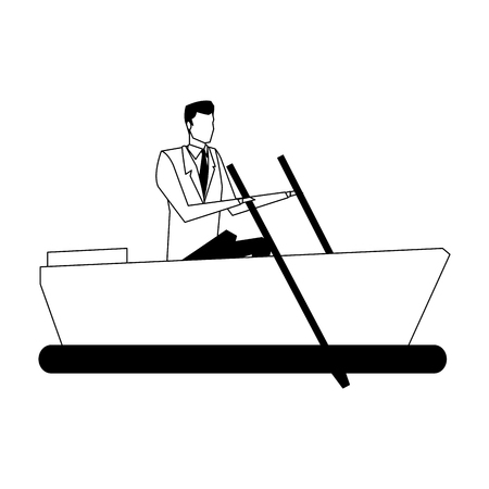 Businessman on boat vector illustration graphic design  イラスト・ベクター素材