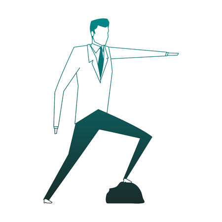 Businessman with feet on rock pinting with hand vector illustration graphic design