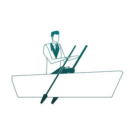 Businessman on boat vector illustration graphic design Ilustrace