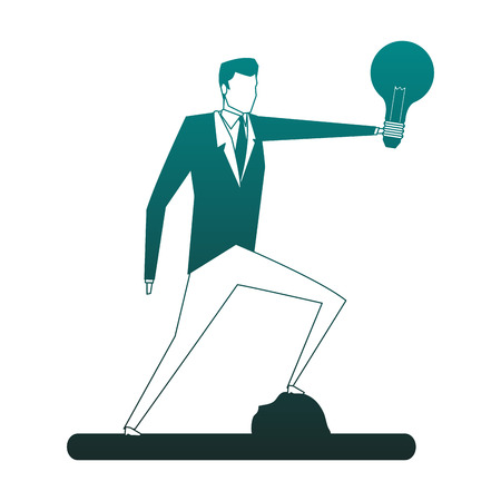 Businessman holding bulb light vector illustration graphic design Ilustrace