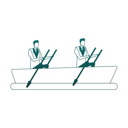 Businessmens on boat vector illustration graphic design