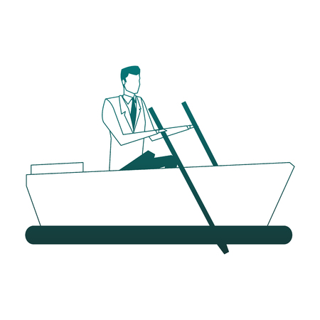 Businessman on boat vector illustration graphic design Çizim