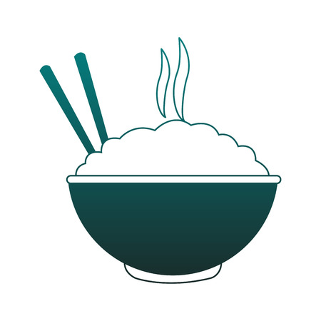 Rice on bowl with chopsticks vector illustration graphic design