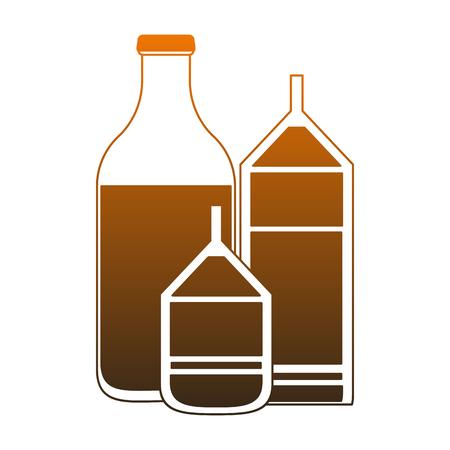 Milk bottle and boxes vector illustration graphic design