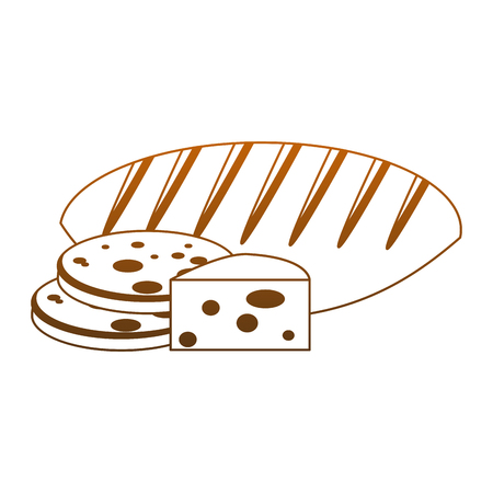 Bread and cheese with cookies vector illustration graphic design