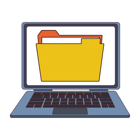 Folder in laptop screen vector illustration graphic design