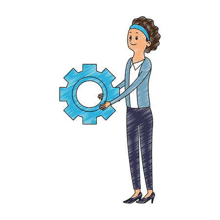 Woman with gear symbol vector illustration graphic design
