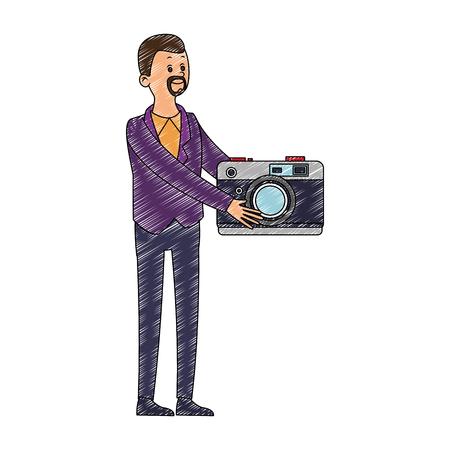 Businessman with video symbol vector illustration graphic design