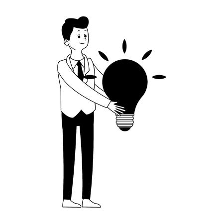 Busimessman with bulb symbol vector illustration graphic design 일러스트