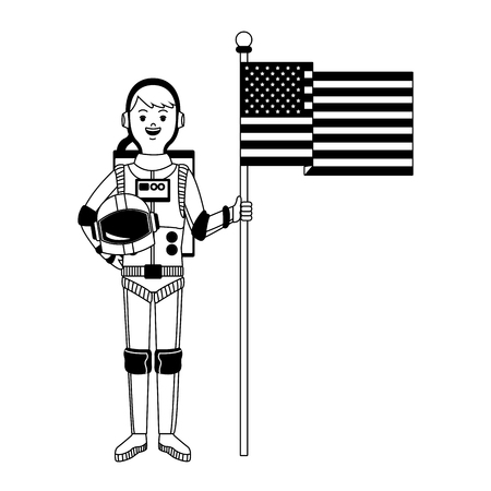 Astronaut with USA flag cartoon vector illustration graphic design