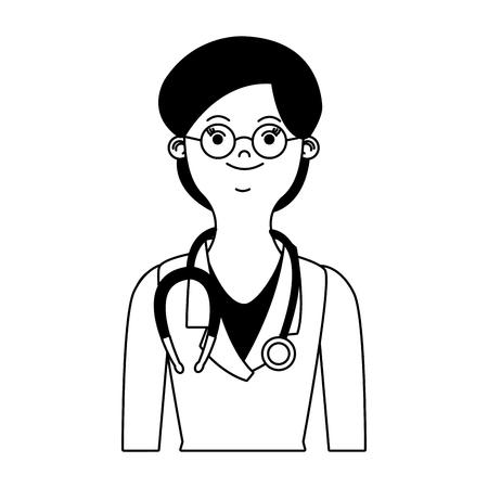 Woman doctor cartoon vector illustration graphic design