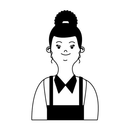 Frauenkellnerkarikaturvektorillustrationsgrafikdesign Vektorgrafik