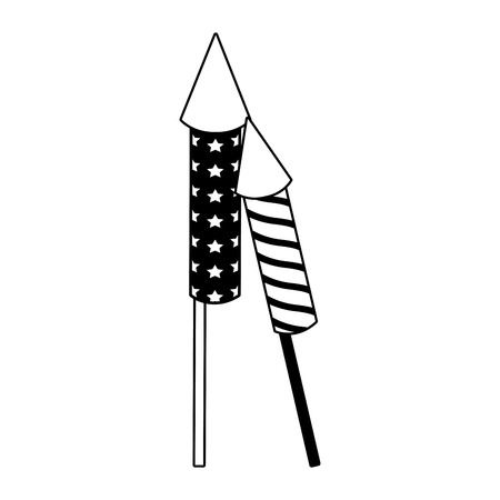 Rockets firework isolated vector illustration graphic design