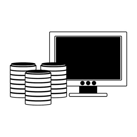 PC screen with disks storage vector illustration graphic design