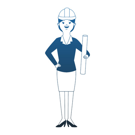 woman engineer cartoon vector illustration graphic design Vectores