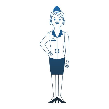 Stewardess woman cartoon vector illustration graphic design Ilustración de vector