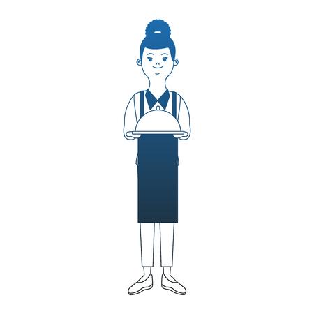 Waiter with dish vector illustration graphic design