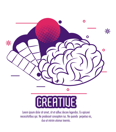 Creative mind poster with cartoons and information vector illustration graphic design Illustration